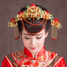 Traditional Jewelry Chinese Classical Costume Headdress Frontlet Coronet Hairpin Step shake bridal hair accessories Gold Red