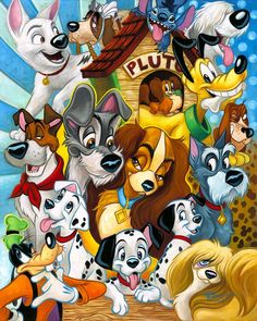 Disney Fine Art Disney Dogs by Tim Rogerson