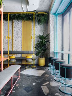 POBO asian bistro on Behance Cafe Interior Design, Retail Interior, Cafe Design, Asian Cafe, Asian Bistro, Restaurant Seating, Restaurant Design, Colorful Cafe, Cafe Concept