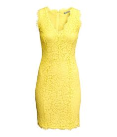 Sleeveless, fitted dress in lace. V-neck, short fringe trim, and concealed back zip. Lined.