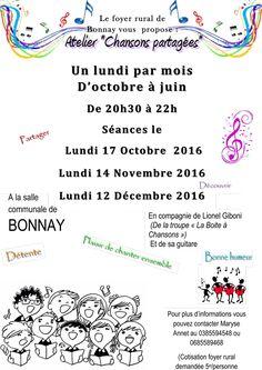 """Atelier """"Chansons partagées"""", un lundi par mois d'octobre à juin à Bonnay : http://clun.yt/2dcBStl"""