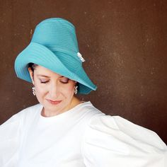 Piazza : Blue spring hat, easter bonnet, asymmetrical brim cloche, turquoise wide brim hat, handmade millinery for women