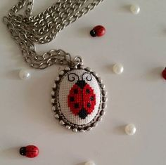 Cross stitch necklace Necklace Ladybug by AuroraSanat on Etsy