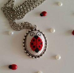 Cross stitch necklace Necklace Ladybug by AuroraSanat on Etsy Diy Fabric Jewellery, Beaded Jewelry, Handmade Jewelry, Embroidery Jewelry, Embroidery Patterns, Cross Stitch Patterns, Tiny Cross Stitch, Butterfly Cross Stitch, Cross Stitch Tutorial