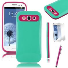 Pandamimi ULAK Mint Green Hybrid Hard Impact Cover Case+ Rose Pink Silicone For Samsung Galaxy S3 SIII i9300 +Screen Protector + Rose Pink Stylus, http://www.amazon.com/dp/B00CSDGDQ2/ref=cm_sw_r_pi_awd_fJKosb0ZPXBW6