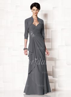 Mother of the Bride Dresses - $128.99 - Sheath/Column Sweetheart Floor-Length Chiffon Mother of the Bride Dress With Ruffle Beading Cascading Ruffles (00805008541)