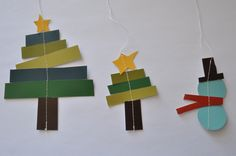 New paper christmas tree ornaments xmas ideas Paper Christmas Ornaments, Noel Christmas, Homemade Christmas, Simple Christmas, Christmas Decorations, Christmas Cards, Christmas Crafts For Kids To Make, How To Make Ornaments, Holiday Crafts