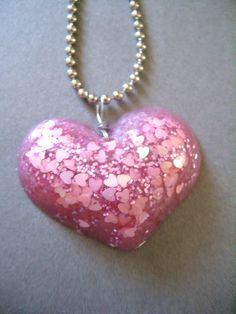 Pretty Pink Glitter Filled Resin Heart - Handmade XL Resin Pendant Necklace. $15.00, via Etsy.