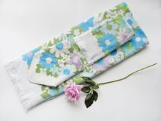 5d3f2c1ec4 Vintage Bath Towel Set Fieldcrest 3 pc. Blue Purple Green Floral On White  All Cotton Fringed Flower Power