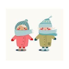 size: Art Print: Children in Winter Cloth. by Popmarleo : Winter Illustration, Bear Illustration, Christmas Illustration, Ski Drawing, 5 Little Monkeys, Winter Outfits, Kids Outfits, Cartoon Boy, Winter Kids
