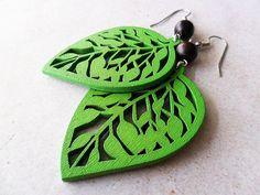 Green Wooden Leaf Earrings with Brown Wooden by marygracejewellery