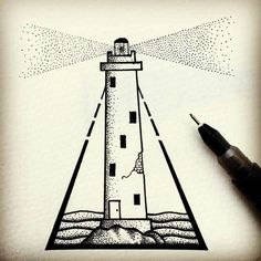 Fresh WTFDotworkTattoo Find Fresh from the Web Little Lighthouse. Line Drawing, Painting & Drawing, Arte Black, Graphisches Design, Desenho Tattoo, Pointillism, Stippling, Pen Art, Art Plastique