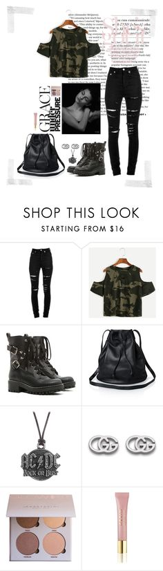 """Camo"" by gorlmoria on Polyvore featuring Yves Saint Laurent, RED Valentino, AC/DC, Gucci and AERIN"