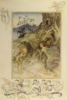 #1 1912 Arthur Rackham  book plate PRINT Aesop/'s Fables-Hare /& The Tortoise