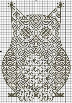 blackwork n° 5 Motifs Blackwork, Blackwork Cross Stitch, Cross Stitch Owl, Blackwork Embroidery, Cross Stitch Charts, Cross Stitch Designs, Cross Stitching, Cross Stitch Embroidery, Embroidery Patterns