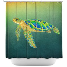 Sea Turtle Shower Curtain  Sydney Undersea by ArtfullyFeathered