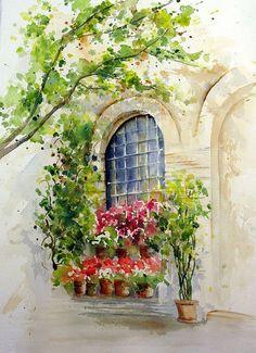.watercolor window scene