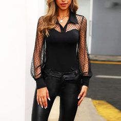 Shop Dot Sheer Mesh Yoke Casual Blouse right now, get great deals at menisoo Mode Outfits, Stylish Outfits, Fashion Outfits, Black Outfits, Mode Chic, Mode Style, Trend Fashion, Womens Fashion, Cheap Fashion