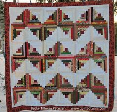 Autumn ZigZag Quilt Pattern | This pretty fall quilt puts a spin on the traditional log cabin pattern!