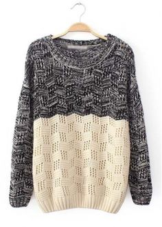 Round Neck Knitting Wool Color Block Pullover - USD $22.65