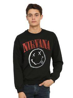 Nirvana Smiley Sweatshirt, BLACK
