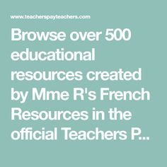 Browse over 500 educational resources created by Mme R's French Resources in the official Teachers Pay Teachers store. Texas Teacher, Math Teacher, Teacher Resources, Teacher Pay Teachers, Superhero Teacher, Science Lessons, Science Education, Ladybug Teacher Files, Primary Classroom