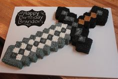 Aunty Heidi, Kade wants me to make this cake for his birthday. Any tips? Minecraft Party, Bolo Minecraft, Minecraft Sword, Minecraft Birthday Cake, Birthday Fun, Birthday Party Themes, Birthday Ideas, Birthday Cakes, Minecraft Cupcakes