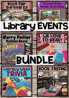 School Library Events help make your library the center of your school. This money saving bundle will help you plan fun elementary school library activities and events to involve your students, teachers, and families. Start planning your school library fun today! #thetrappedlibrarian #schoollibrary Library Skills, Library Lessons, Library Room, Elementary School Library, Elementary Schools, Book Tasting, Library Organization, Library Events, Information Literacy