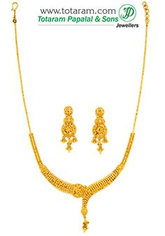 22k Gold Necklace Earrings Set Gs2677 Indian Jewelry From Totaram Jewelers Small