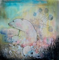 limited edition fine art polar bear print ,mounted on wood with resin. Reproduction of bear ferris wheel painting. $25.00, via Etsy.