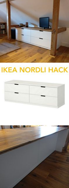 The lKEA NORDLI looks so much better with an oak top! http://www.ikeahackers.net/2017/02/nordli-agricultural-industrial-hack.html