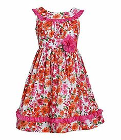 Bonnie Jean 716 GlitterAccented Floral Poplin Dress #Dillards