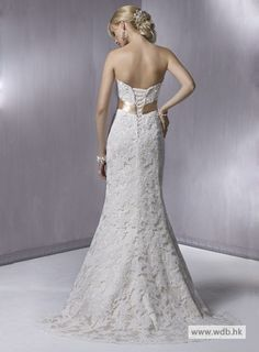 spring wedding Fashionable Strapless Empire waist Lace over satin wedding dress $447