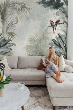 Tree Wallpaper Soft Forest Wall Mural Tropical Jungle Wall Print Exotic Home Decor Living Room Tree Wallpaper Mural, Forest Wallpaper, Tree Wall Murals, Office Wallpaper, Wallpaper Decor, Bedroom Wall, Diy Bedroom Decor, Living Room Decor, Home Decor