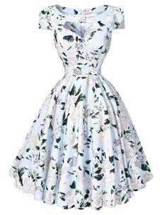 Women Dresses 50s 60s Casual Pinup Retro Dress BP008 Floral Print Short Sleeve Vestido Robe Rockabilly Hepburn Vintage Dress Alternative Measures - Brides & Bridesmaids - Wedding, Bridal, Prom, Formal Gown