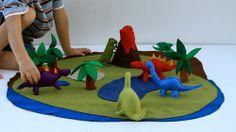 felt play mat | Felt Dinosaur Play Mat | zelfmaak speelgoed