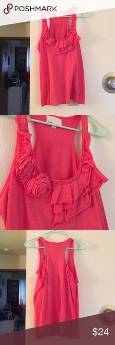 NWOT Lush Coral Tank Never worn. Decorative detail at bust. Racerback. Cross posted on Ⓜercari & ♈inted. Lush Tops Tank Tops