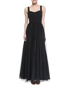 Sleeveless Sweetheart Tulle Ball Gown, Black by Aidan Mattox at Neiman Marcus.