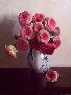 ❀ Blooming Brushwork ❀ - garden and still life flower paintings - Roses in Oriental Vase by Dennis Perrin