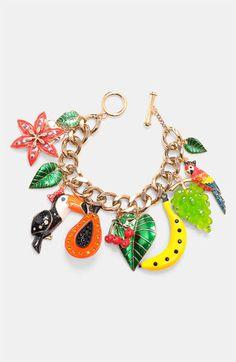 Betsey Johnson 'Rio' Toucan & Fruit Charm Bracelet available at #Nordstrom .... OMGGGGG <3 <3 LOVE LOVE