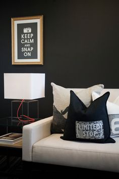 dark living room with cool table lamp