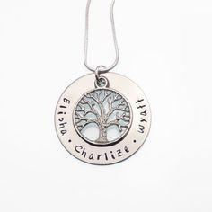 Family Tree Hand Stamped Necklace | Children's Names Necklace | Customized Mother's Necklace | Push Present | Hand Stamped Name Jewelry by CathysCreationsJwlry
