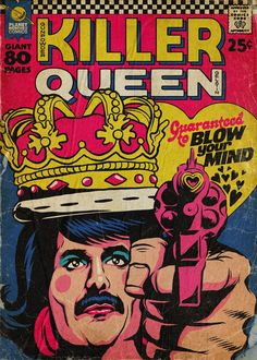 'Planet Mercury' - Queen-Songs als Vintage Comic Cover von Butcher Billy Comics Vintage, Vintage Comic Books, Killer Queen, Cultura Pop, Reine Art, Queen Songs, Comic Art, Comic Poster, Gig Poster