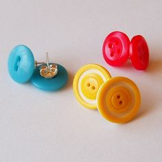 Colourful Button Earrings