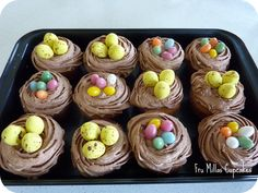 Mandag da vi var til Påskefrokost hos min far havde jeg taget cupcakes med. Jeg havde bagt min Caramel Mud cupcakes, som jeg bager tit. Ovenpå er der en chokolade smør creme.I anledningen af påsken…
