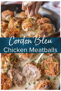 Chicken Cordon Bleu Meatballs Are The Most Amazing Holiday Appetizer Ever Chicken Meatballs Stuffed With Swiss And Ham, And Cooked In A White Wine Dijon Sauce. I Could Eat These Cordon Bleu Chicken Meatballs For Every Meal Via Beckygallhardin Best Holiday Appetizers, Finger Food Appetizers, Healthy Appetizers, Appetizers For Party, Appetizer Recipes, Meatball Appetizers, Holiday Parties, Thanksgiving Appetizers, Meatball Recipes