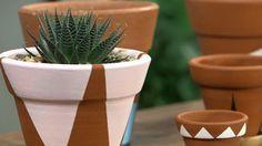 Veja como pintar em formas geométricas ou criar etiquetas para seus vasinhos de ervas