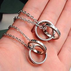 Eternal Love His & Hers Pendant Necklace Set (Valentines Day gifts for long distance boyfriend)
