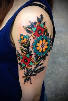 Normally i don't like color but this is nice Traditional-style tattoos are not really my thing, but this artist's use of color puts her at the top of my list for possible candidates for a tattoo of my late dog. Tattoo Femeninos, Piercing Tattoo, Body Art Tattoos, Tatoos, Piercings, Tattoo Forearm, Arm Tattoos, Traditional Style Tattoo, Traditional Flower Tattoos