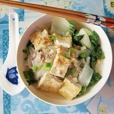 Noodle Soup with Shrimp, Chicken, Tofu and Baby Bok Choy by tigerfish  #Soup #Noodles #Shrimp #Tofu